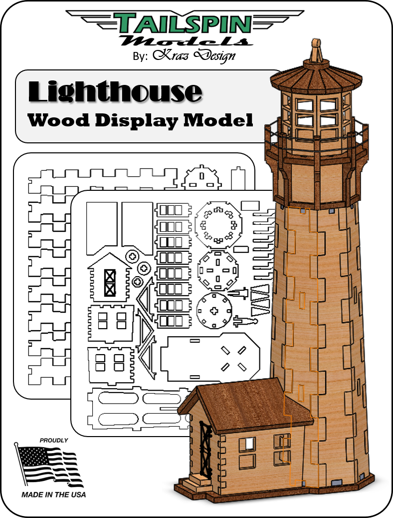Laser-Cut Wood Ligh House Model